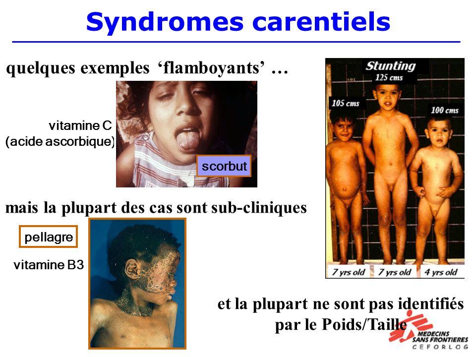 Syndromes carentiels vitamine C (acide ascorbique) mais la plupart des cas sont sub-cliniques quelques exemples flamboyants … scorbut et la plupart ne sont pas identifiés par le Poids/Taille vitamine B3 pellagre