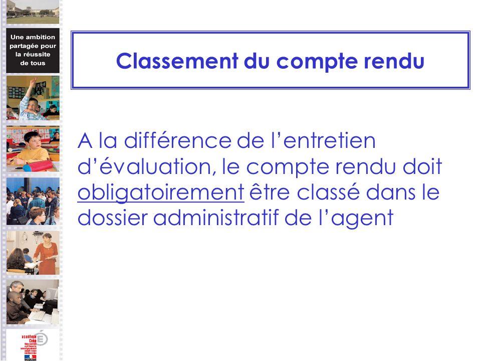 Classement du compte rendu A la différence de lentretien dévaluation, le compte rendu doit obligatoirement être classé dans le dossier administratif d