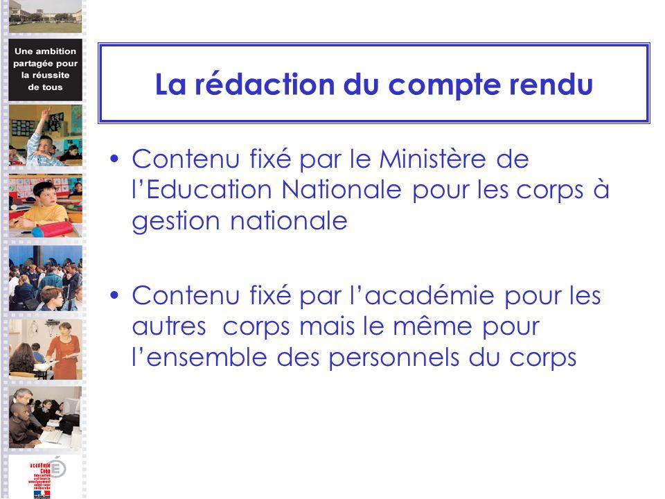 La rédaction du compte rendu Contenu fixé par le Ministère de lEducation Nationale pour les corps à gestion nationale Contenu fixé par lacadémie pour