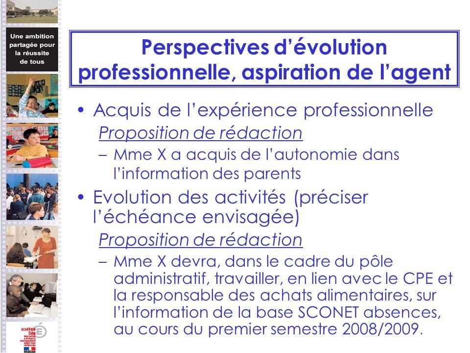 Perspectives dévolution professionnelle, aspiration de lagent Acquis de lexpérience professionnelle Proposition de rédaction –Mme X a acquis de lauton