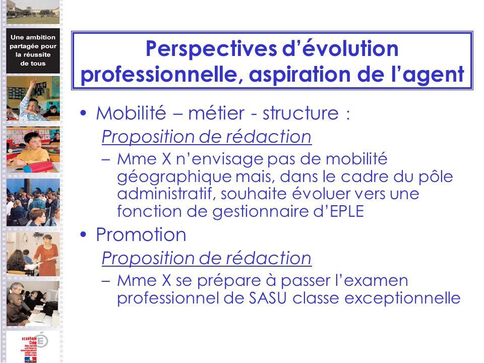 Perspectives dévolution professionnelle, aspiration de lagent Mobilité – métier - structure : Proposition de rédaction –Mme X nenvisage pas de mobilit