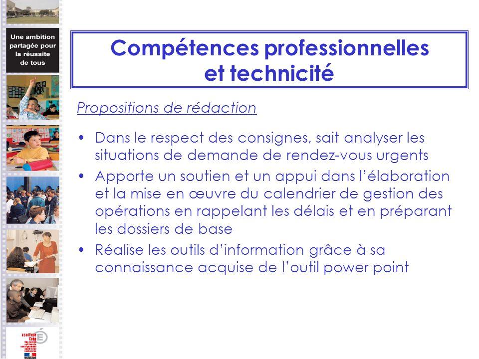 Compétences professionnelles et technicité Propositions de rédaction Dans le respect des consignes, sait analyser les situations de demande de rendez-