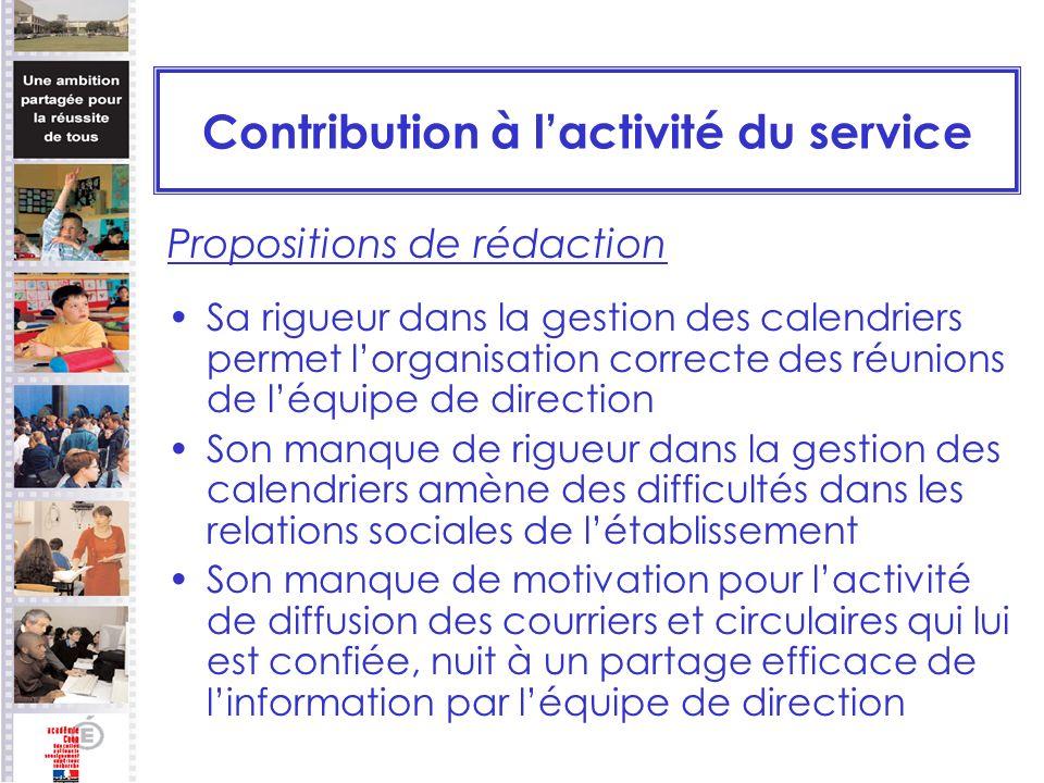 Contribution à lactivité du service Propositions de rédaction Sa rigueur dans la gestion des calendriers permet lorganisation correcte des réunions de