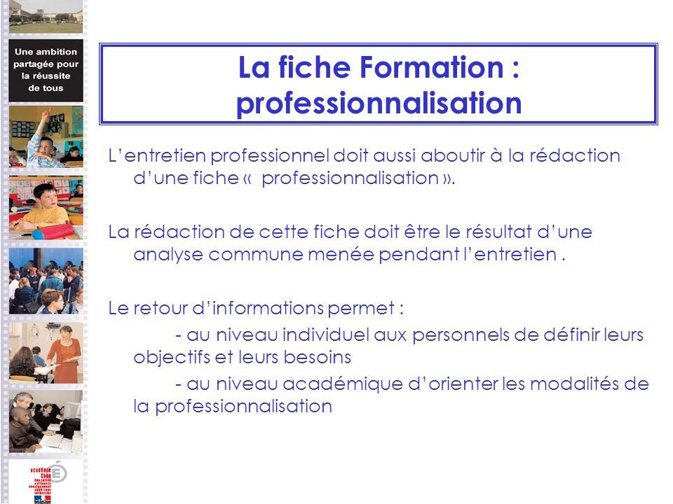 La fiche Formation : professionnalisation Lentretien professionnel doit aussi aboutir à la rédaction dune fiche « professionnalisation ». La rédaction