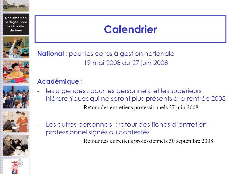 Calendrier National : pour les corps à gestion nationale 19 mai 2008 au 27 juin 2008 Académique : -les urgences : pour les personnels et les supérieur