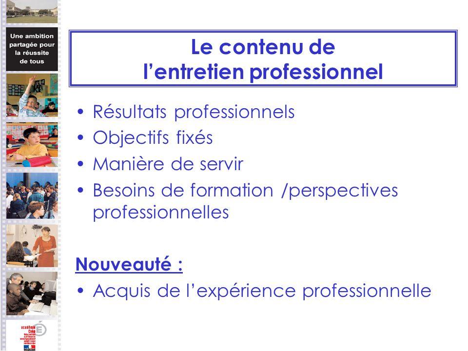 Le contenu de lentretien professionnel Résultats professionnels Objectifs fixés Manière de servir Besoins de formation /perspectives professionnelles