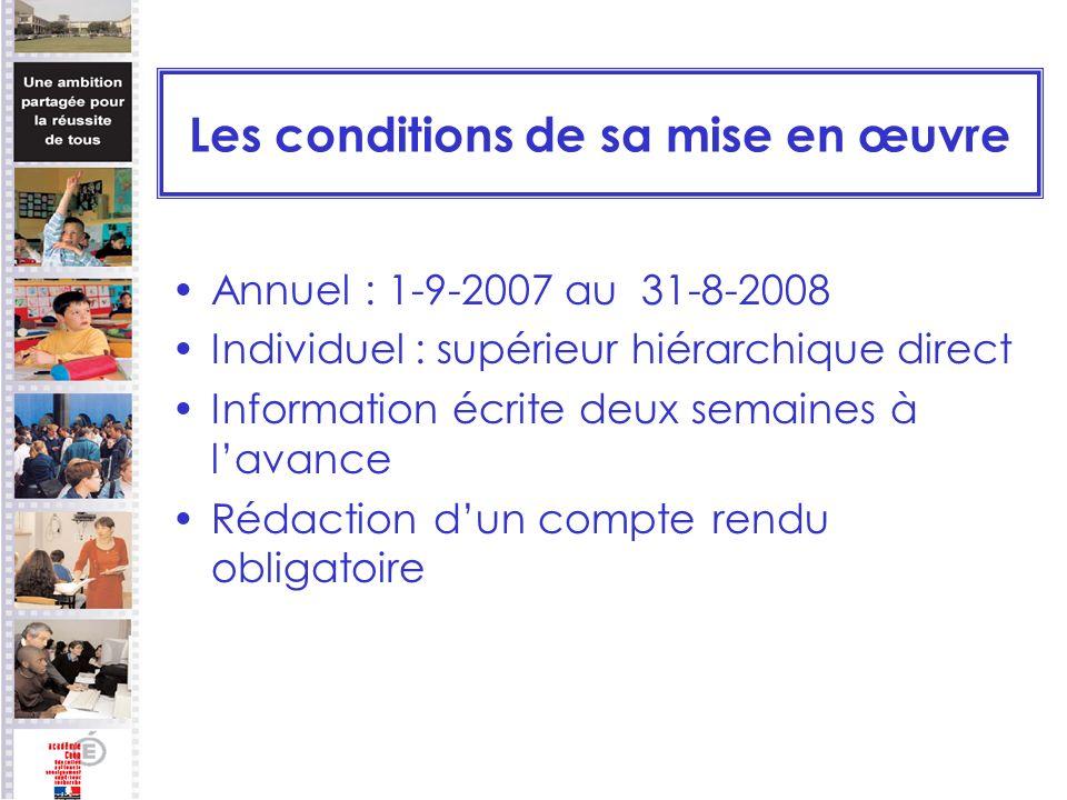 Les conditions de sa mise en œuvre Annuel : 1-9-2007 au 31-8-2008 Individuel : supérieur hiérarchique direct Information écrite deux semaines à lavanc