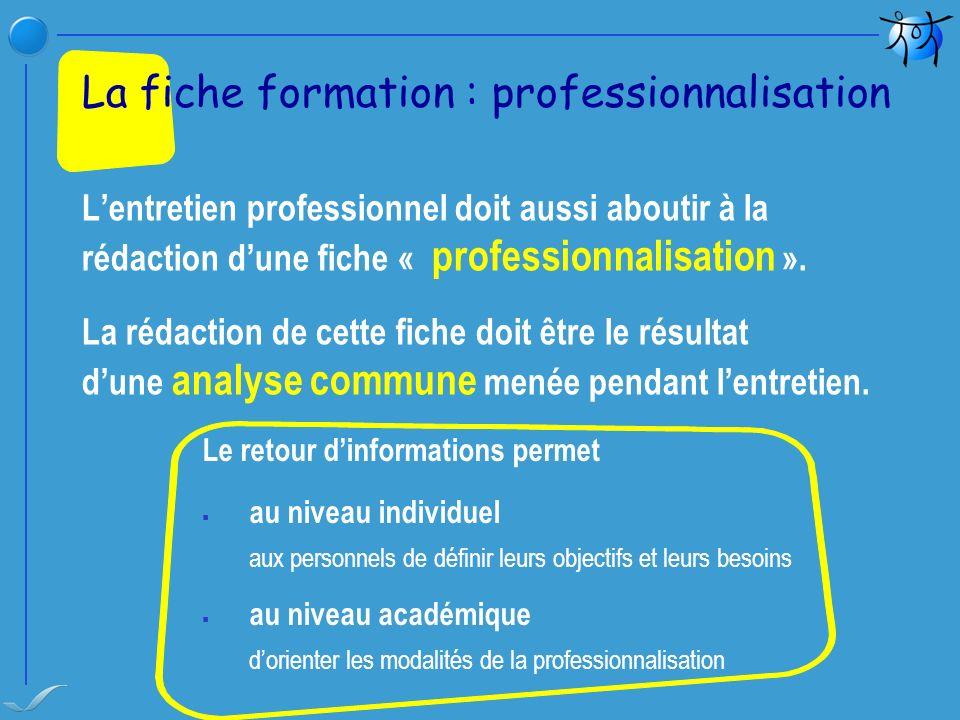 Lentretien professionnel doit aussi aboutir à la rédaction dune fiche « professionnalisation ». La rédaction de cette fiche doit être le résultat dune
