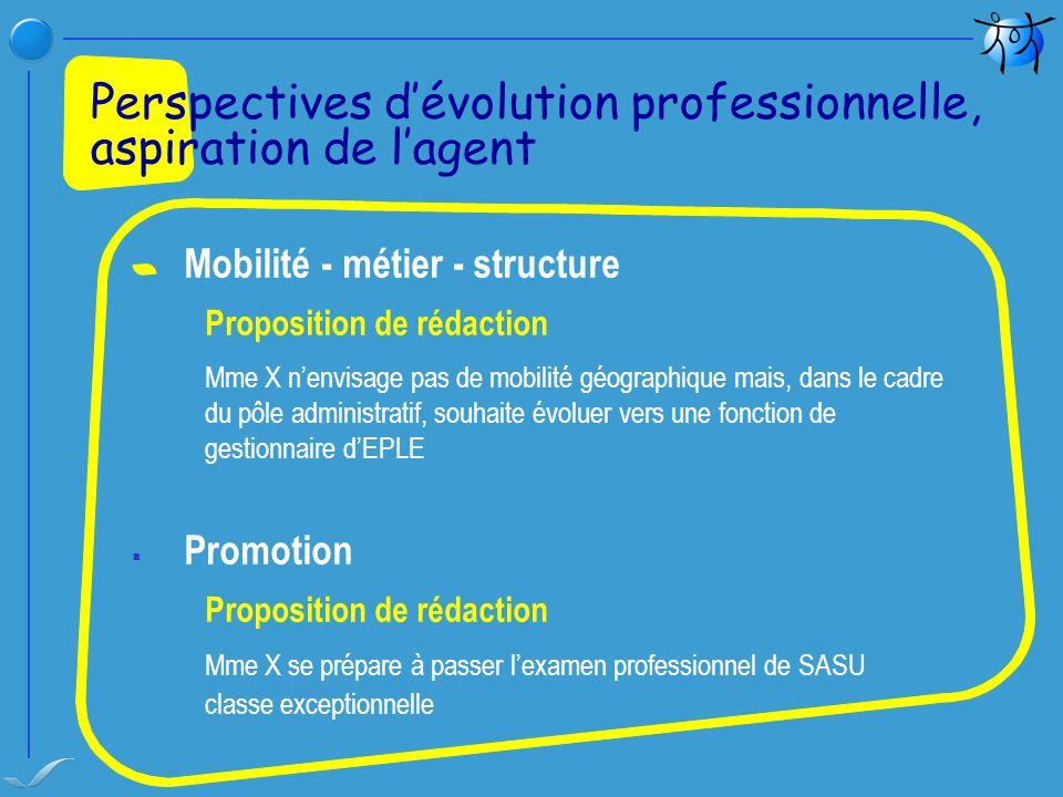 Mobilité - métier - structure Proposition de rédaction Mme X nenvisage pas de mobilité géographique mais, dans le cadre du pôle administratif, souhait