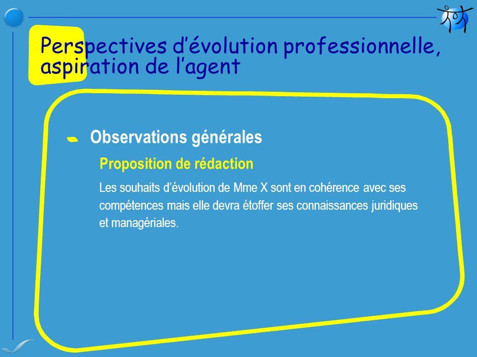 Observations générales Proposition de rédaction Les souhaits dévolution de Mme X sont en cohérence avec ses compétences mais elle devra étoffer ses co