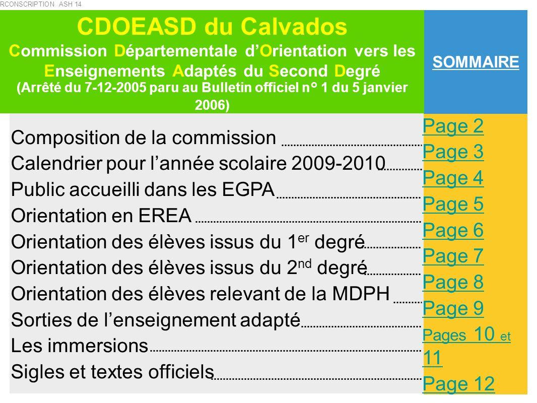 TEXTES DE RÉFÉRENCE CDOEASD : Commission Départementale dOrientation vers les Enseignements Adaptés du Second Degré Arrêté du 7-12-2005 paru au BO n°1 du 5 janvier 2006 (MENE0502616A) SEGPA : Section dEnseignement Général et Professionnel Adapté Circulaire n°2009-060 du 24 avril 2009 Circulaire n° 2006-139 du 29 août 2006 Plan triennal / Contrat dobjectif, circonscription ASH 2006 - 2009 Mission académique ASH 2008-2011 EREA : Établissement Régional dEnseignement Adapté Circulaire n°95-127 du 17 mai 1995 paru au BO n°22 du 1 juin 1995 ESS : Équipe de Suivi de Scolarisation Circulaire n°2006-126 du 17 août 2006 Enseignants référents : Arrêté du 17-8-2006 paru au JO du 20 août 2006 MDPH : Maison Départementale des Personnes Handicapées Loi n° 2005-102 du 11 février 2005 pour légalité des droits et des chances, la participation et la citoyenneté des personnes handicapées.