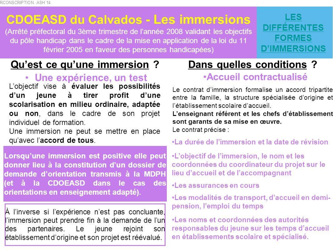 CDOEASD du Calvados - Les immersions (Arrêté préfectoral du 3ème trimestre de lannée 2008 validant les objectifs du pôle handicap dans le cadre de la