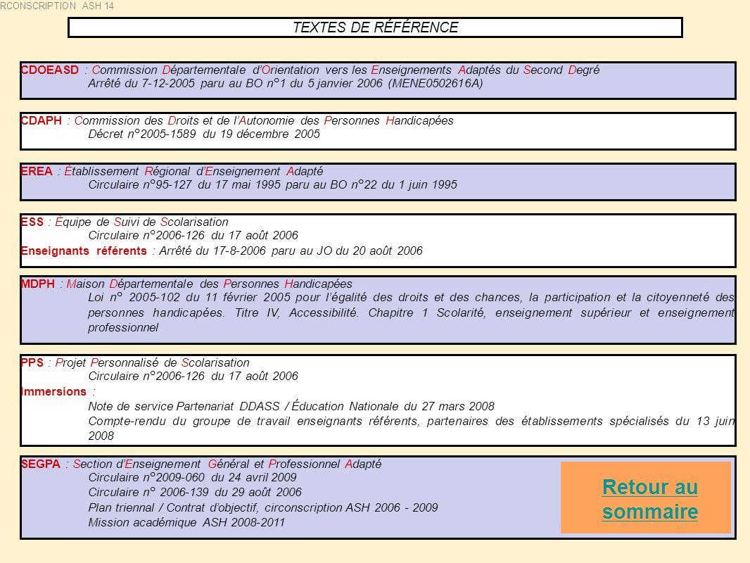 TEXTES DE RÉFÉRENCE CDOEASD : Commission Départementale dOrientation vers les Enseignements Adaptés du Second Degré Arrêté du 7-12-2005 paru au BO n°1