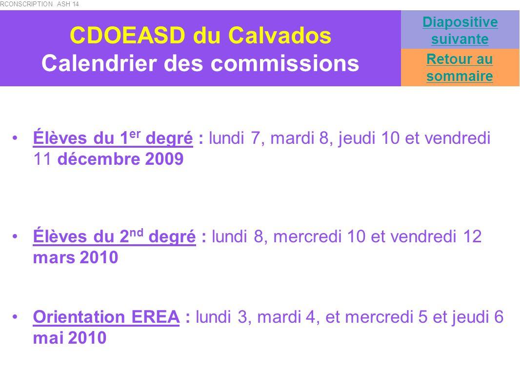 CDOEASD du Calvados Calendrier des commissions Élèves du 1 er degré : lundi 7, mardi 8, jeudi 10 et vendredi 11 décembre 2009 Élèves du 2 nd degré : l
