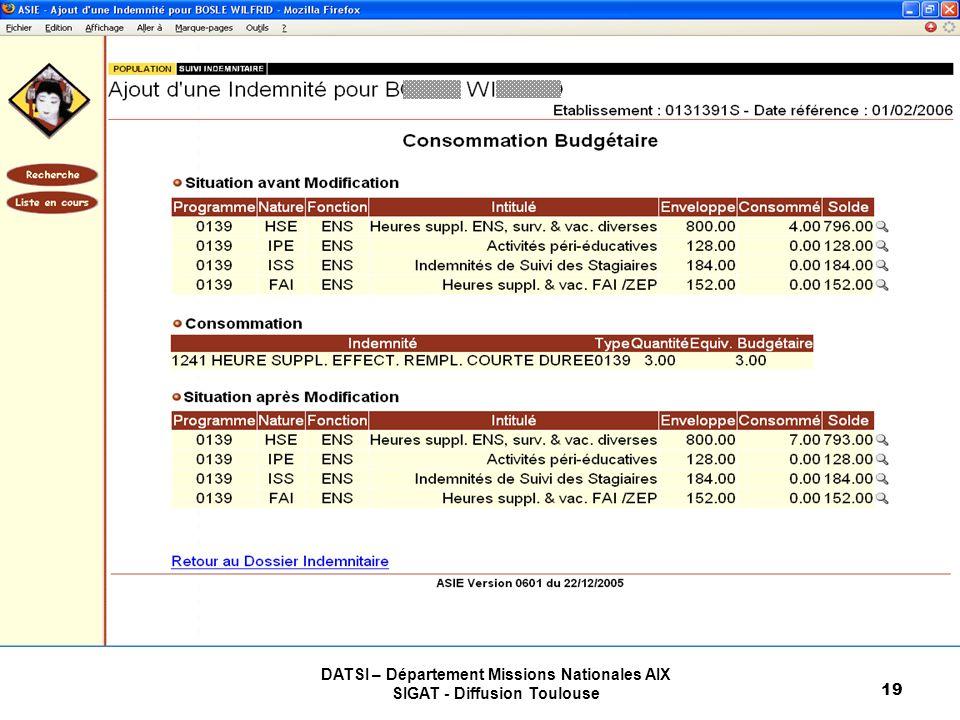 DATSI – Département Missions Nationales AIX SIGAT - Diffusion Toulouse 19