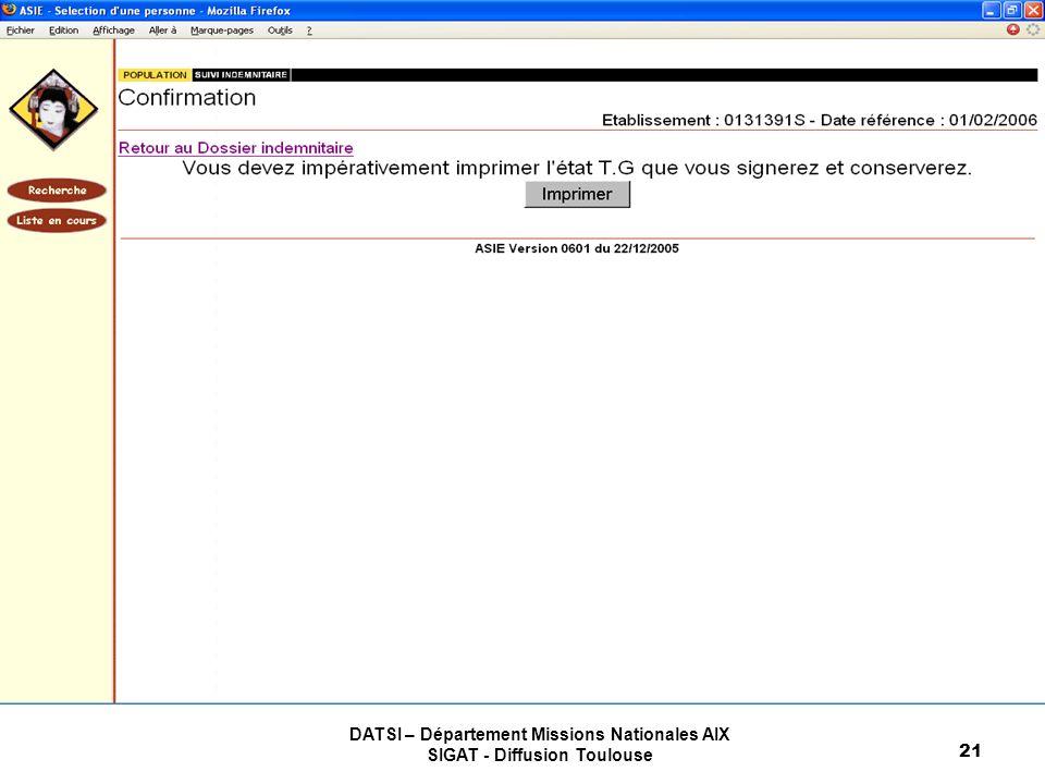 DATSI – Département Missions Nationales AIX SIGAT - Diffusion Toulouse 21