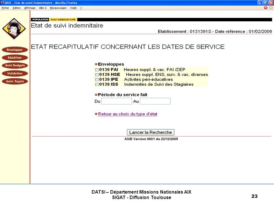 DATSI – Département Missions Nationales AIX SIGAT - Diffusion Toulouse 23