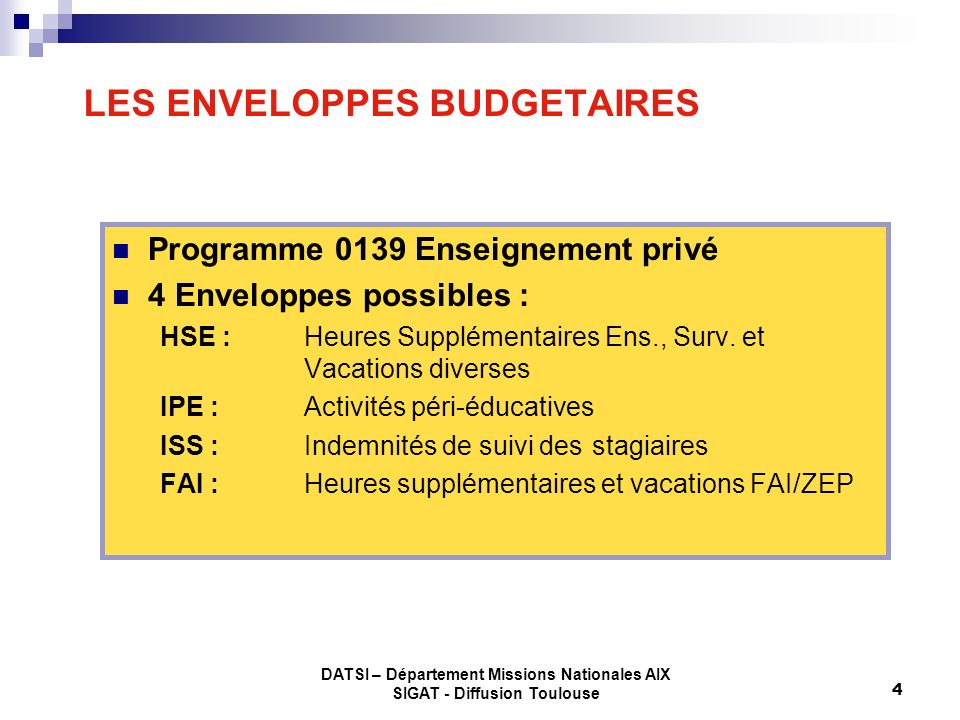 DATSI – Département Missions Nationales AIX SIGAT - Diffusion Toulouse 4 LES ENVELOPPES BUDGETAIRES Programme 0139 Enseignement privé 4 Enveloppes pos