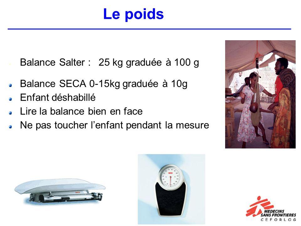 Balance Salter : 25 kg graduée à 100 g Balance SECA 0-15kg graduée à 10g Enfant déshabillé Lire la balance bien en face Ne pas toucher lenfant pendant la mesure Le poids
