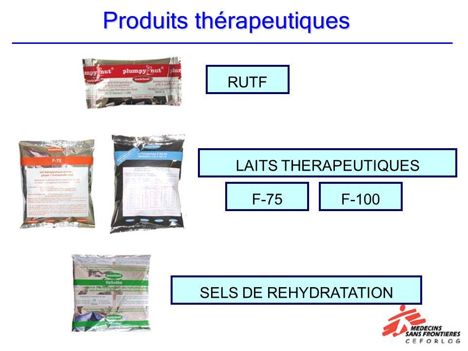 RUTF LAITS THERAPEUTIQUES SELS DE REHYDRATATION F-100F-75 Produits thérapeutiques