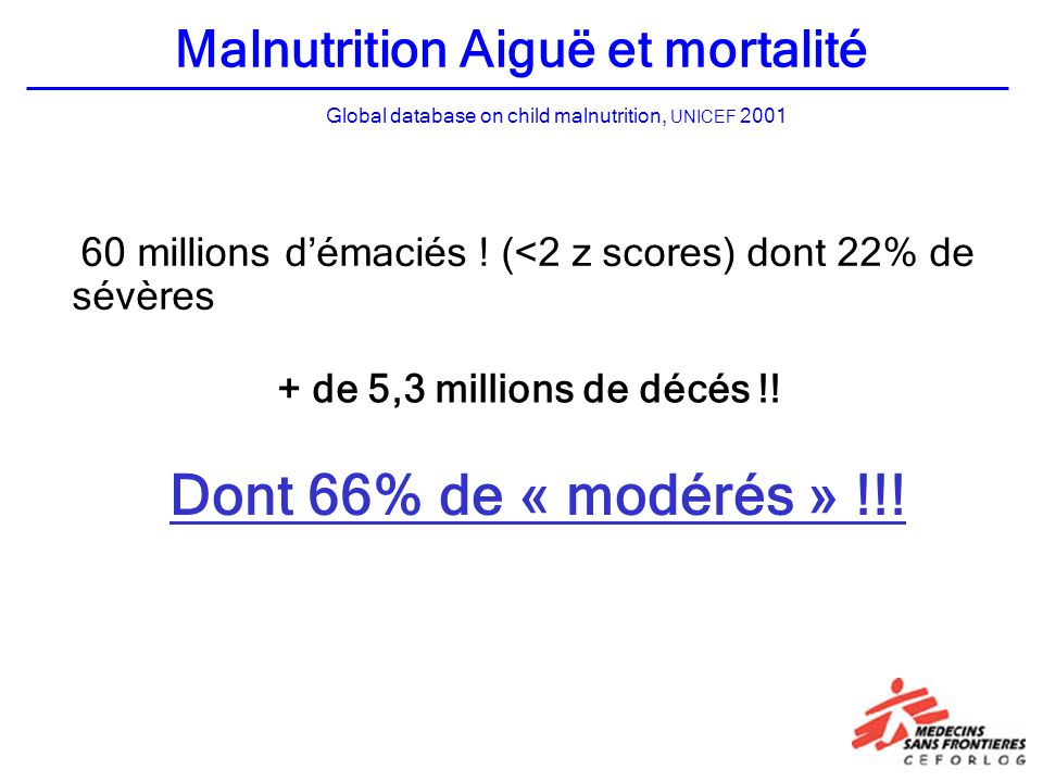 Global database on child malnutrition, UNICEF 2001 Malnutrition Aiguë et mortalité 60 millions démaciés .