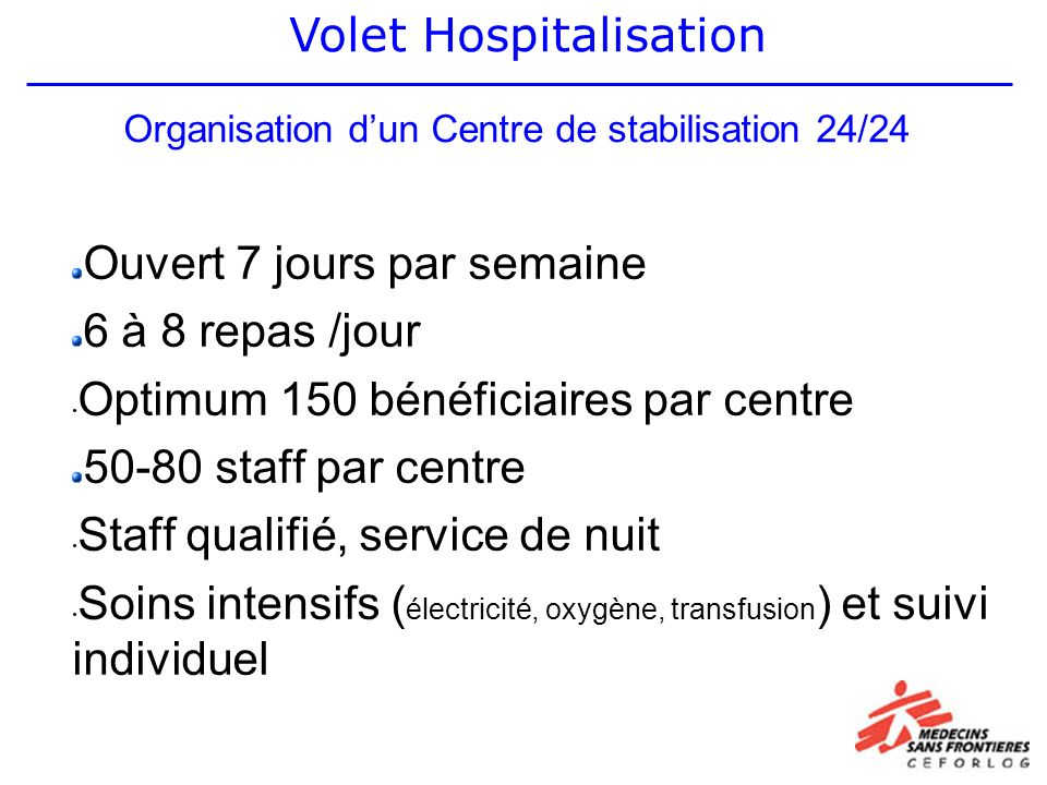 Organisation dun Centre de stabilisation 24/24 Ouvert 7 jours par semaine 6 à 8 repas /jour Optimum 150 bénéficiaires par centre 50-80 staff par centre Staff qualifié, service de nuit Soins intensifs ( électricité, oxygène, transfusion ) et suivi individuel Volet Hospitalisation