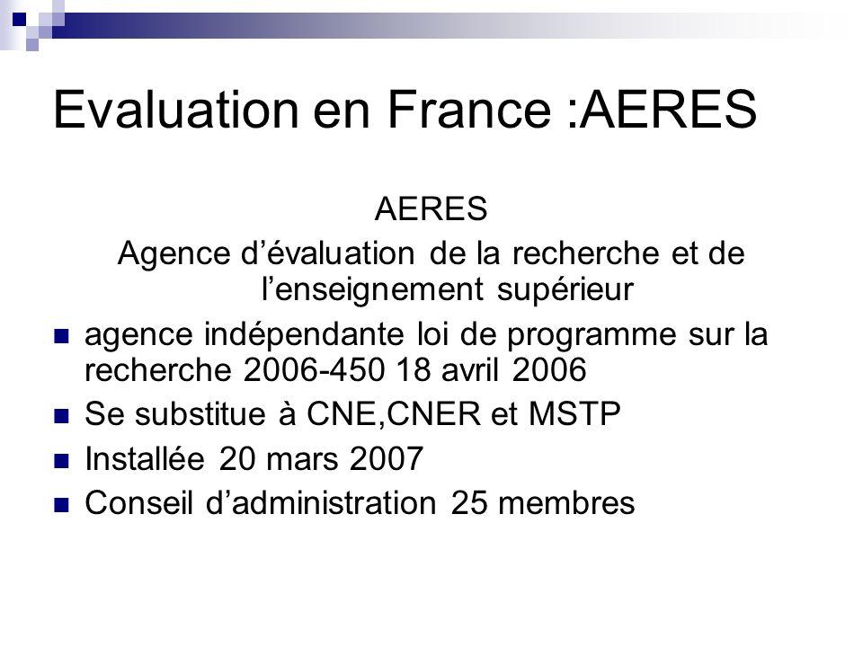 Evaluation en France :AERES AERES Agence dévaluation de la recherche et de lenseignement supérieur agence indépendante loi de programme sur la recherc