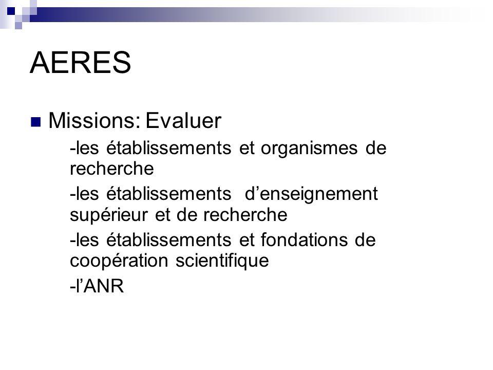 AERES Missions: Evaluer -les établissements et organismes de recherche -les établissements denseignement supérieur et de recherche -les établissements