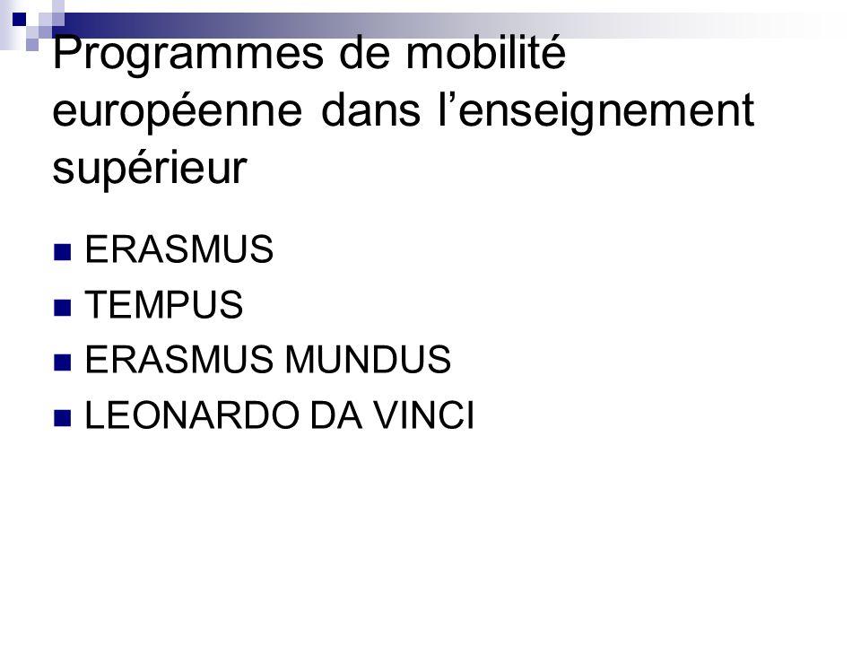 Programmes de mobilité européenne dans lenseignement supérieur ERASMUS TEMPUS ERASMUS MUNDUS LEONARDO DA VINCI