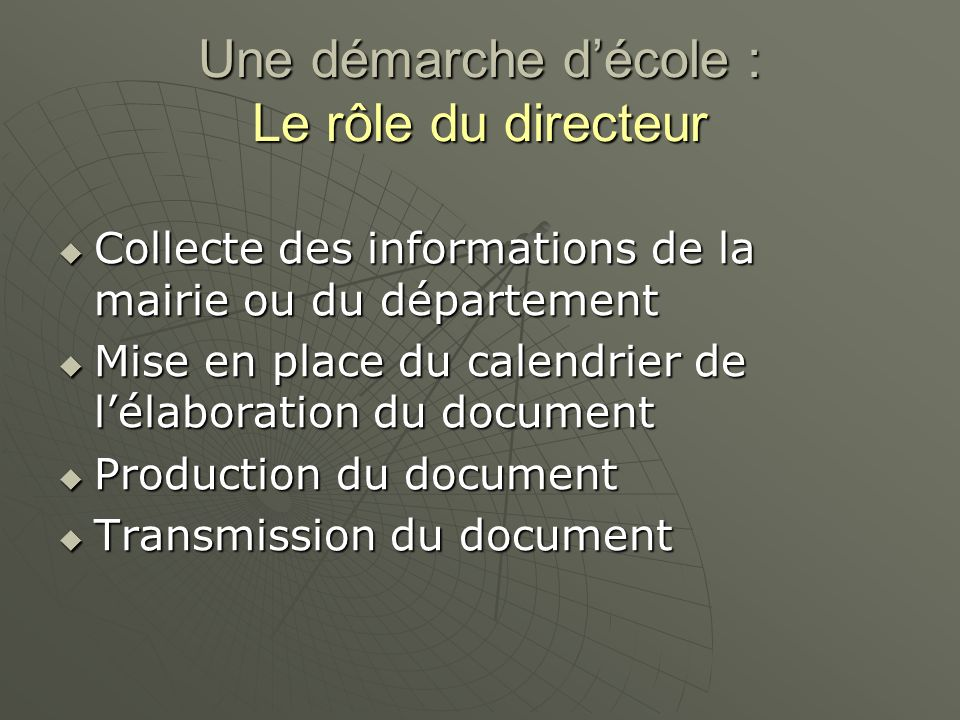 Une démarche décole : Le rôle du directeur Collecte des informations de la mairie ou du département Collecte des informations de la mairie ou du département Mise en place du calendrier de lélaboration du document Mise en place du calendrier de lélaboration du document Production du document Production du document Transmission du document Transmission du document