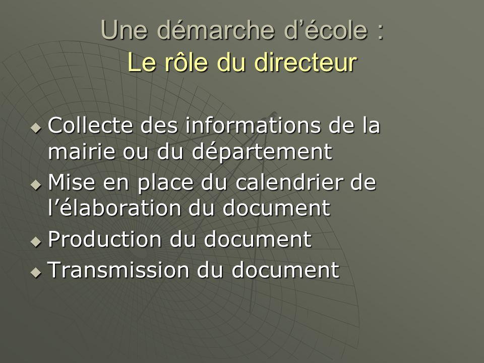 Une démarche décole : Le rôle du directeur Collecte des informations de la mairie ou du département Collecte des informations de la mairie ou du dépar