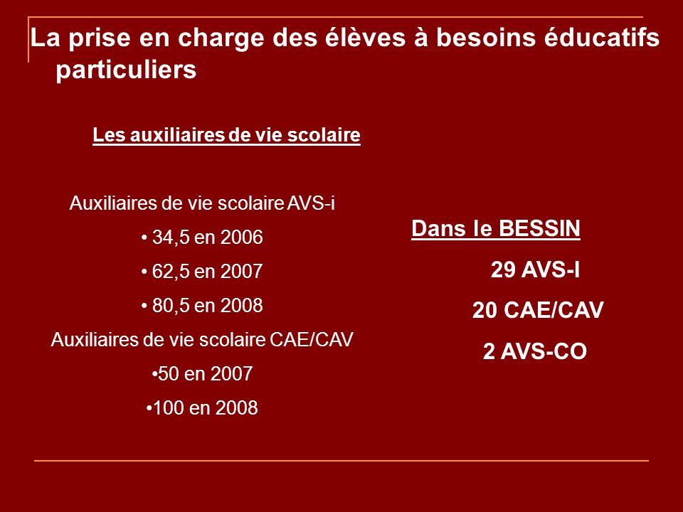 Dans le BESSIN 29 AVS-I 20 CAE/CAV 2 AVS-CO Les auxiliaires de vie scolaire Auxiliaires de vie scolaire AVS-i 34,5 en 2006 62,5 en 2007 80,5 en 2008 Auxiliaires de vie scolaire CAE/CAV 50 en 2007 100 en 2008 La prise en charge des élèves à besoins éducatifs particuliers