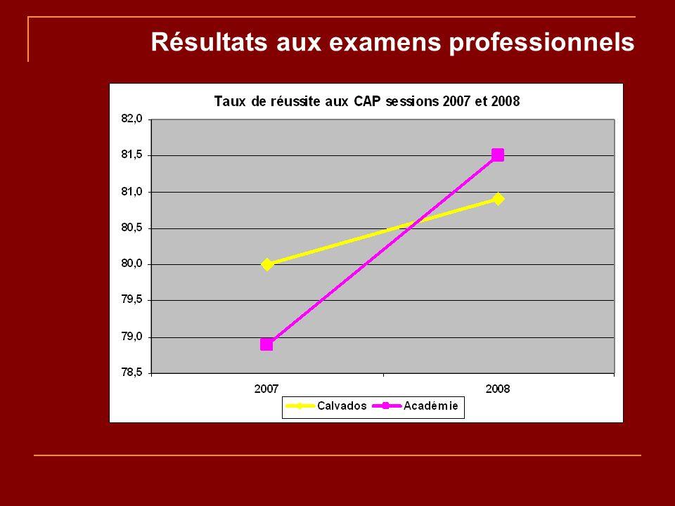Résultats aux examens professionnels