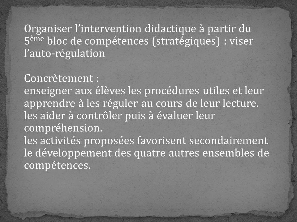 Organiser lintervention didactique à partir du 5 ème bloc de compétences (stratégiques) : viser lauto-régulation Concrètement : enseigner aux élèves l