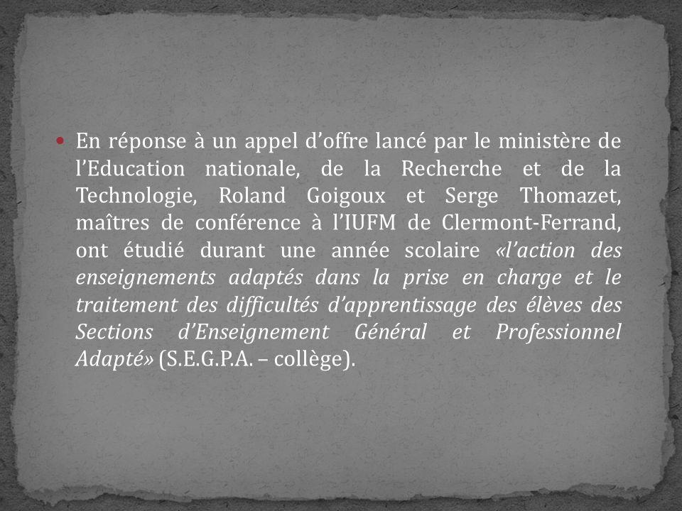 Cette étude a été réalisée auprès de 650 jeunes scolarisés dans 10 collèges dun même département et encadrés par 20 professeurs spécialisés expérimentés chargés de leur enseigner le français.
