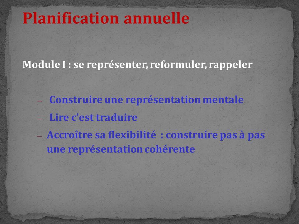 Planification annuelle Module I : se représenter, reformuler, rappeler – Construire une représentation mentale – Lire cest traduire – Accroître sa fle
