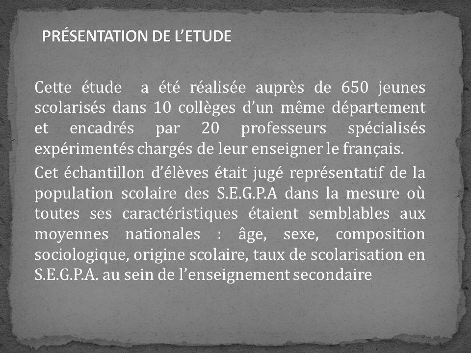 Cette étude a été réalisée auprès de 650 jeunes scolarisés dans 10 collèges dun même département et encadrés par 20 professeurs spécialisés expériment