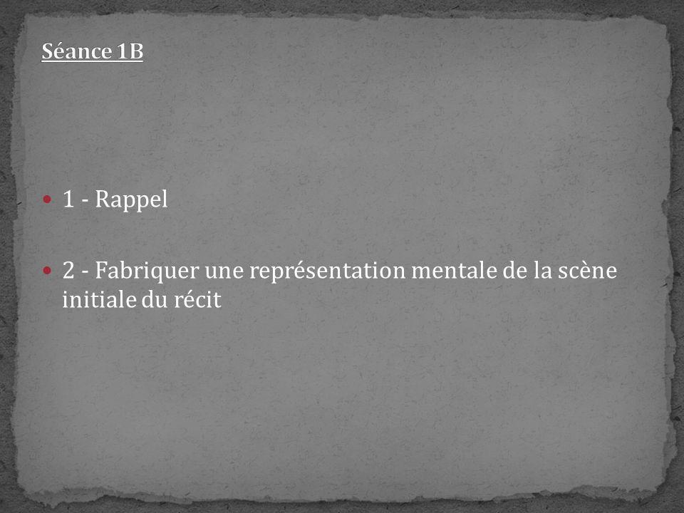 1 - Rappel 2 - Fabriquer une représentation mentale de la scène initiale du récit