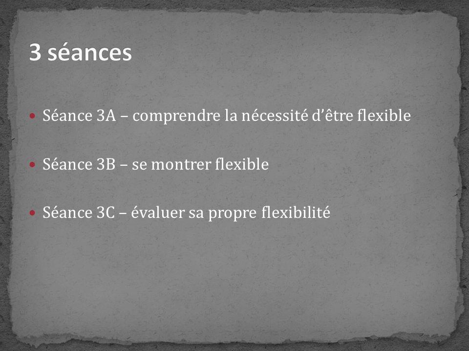 Séance 3A – comprendre la nécessité dêtre flexible Séance 3B – se montrer flexible Séance 3C – évaluer sa propre flexibilité