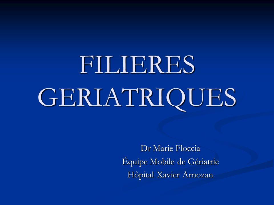 FILIERES GERIATRIQUES Dr Marie Floccia Équipe Mobile de Gériatrie Hôpital Xavier Arnozan
