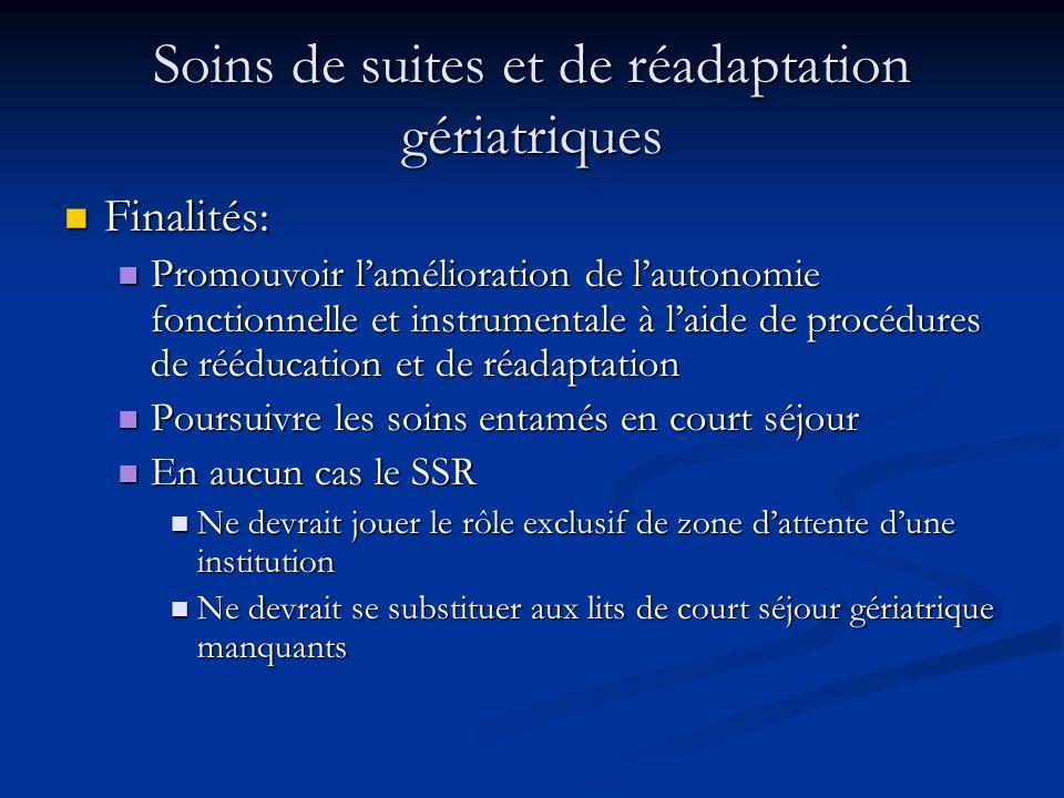 Soins de suites et de réadaptation gériatriques Finalités: Finalités: Promouvoir lamélioration de lautonomie fonctionnelle et instrumentale à laide de