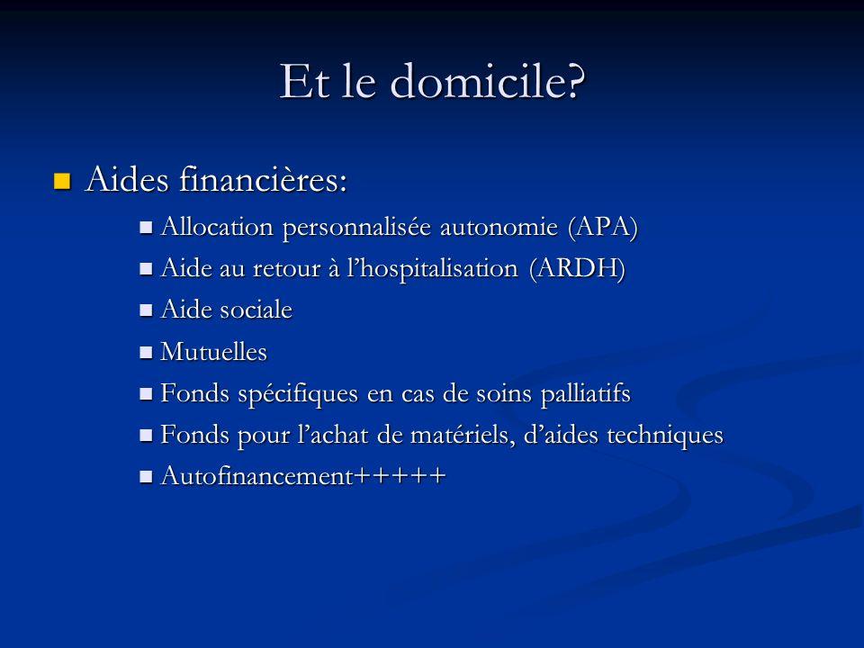 Et le domicile? Aides financières: Aides financières: Allocation personnalisée autonomie (APA) Allocation personnalisée autonomie (APA) Aide au retour