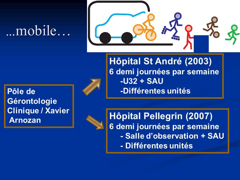 … mobile… Pôle de Gérontologie Clinique / Xavier Arnozan Hôpital Pellegrin (2007) 6 demi journées par semaine - Salle dobservation + SAU - Différentes