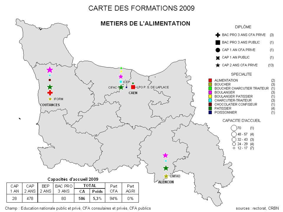 Champ : Education nationale public et privé, CFA consulaires et privés, CFA publics sources : rectorat, CRBN