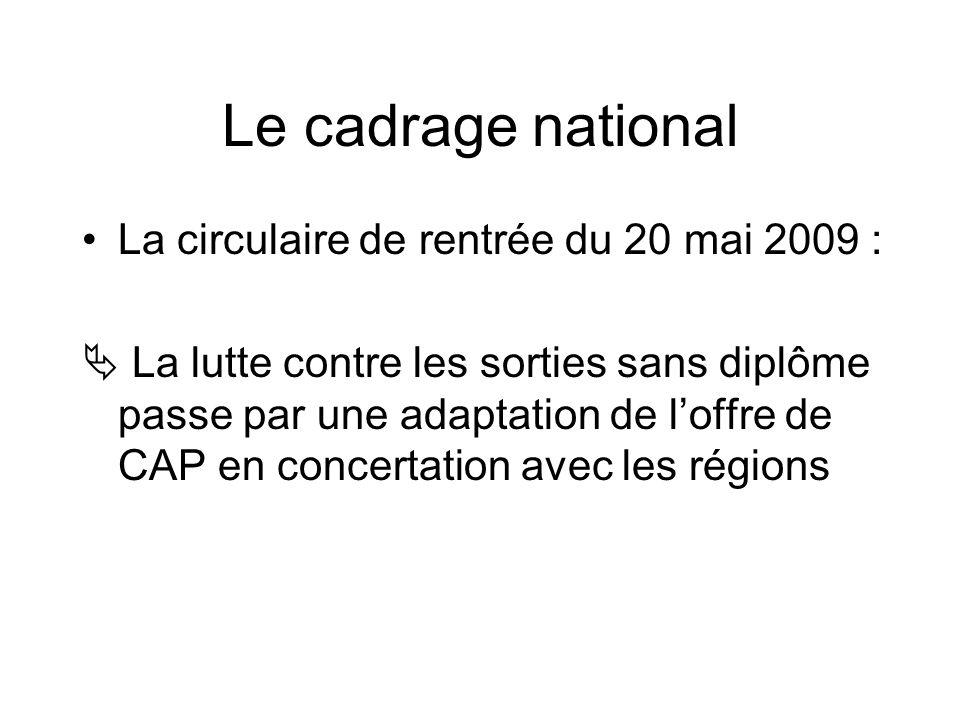 Le cadrage national La circulaire de rentrée du 20 mai 2009 : La lutte contre les sorties sans diplôme passe par une adaptation de loffre de CAP en concertation avec les régions