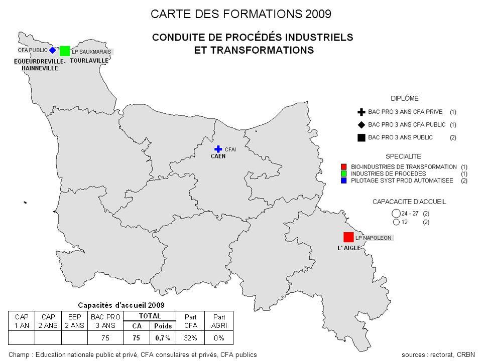 CARTE DES FORMATIONS 2009 Champ : Education nationale public et privé, CFA consulaires et privés, CFA publics sources : rectorat, CRBN