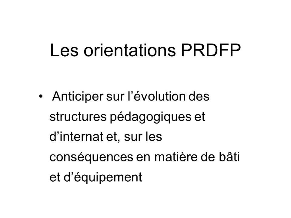 Les orientations PRDFP Anticiper sur lévolution des structures pédagogiques et dinternat et, sur les conséquences en matière de bâti et déquipement