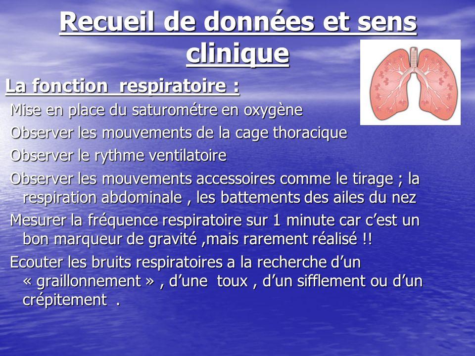 Recueil de données et sens clinique La fonction respiratoire : Mise en place du saturométre en oxygène Mise en place du saturométre en oxygène Observe