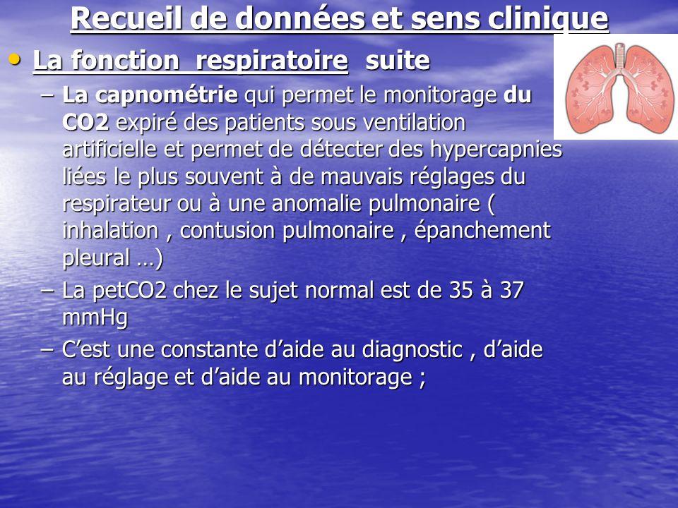 Recueil de données et sens clinique La fonction respiratoire suite La fonction respiratoire suite –La capnométrie qui permet le monitorage du CO2 expi