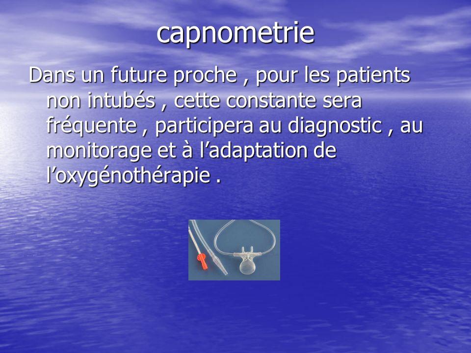 capnometrie Dans un future proche, pour les patients non intubés, cette constante sera fréquente, participera au diagnostic, au monitorage et à ladapt